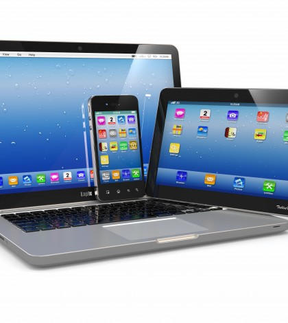 Laptop, phone and tablet pc. Electronic devices. 3d