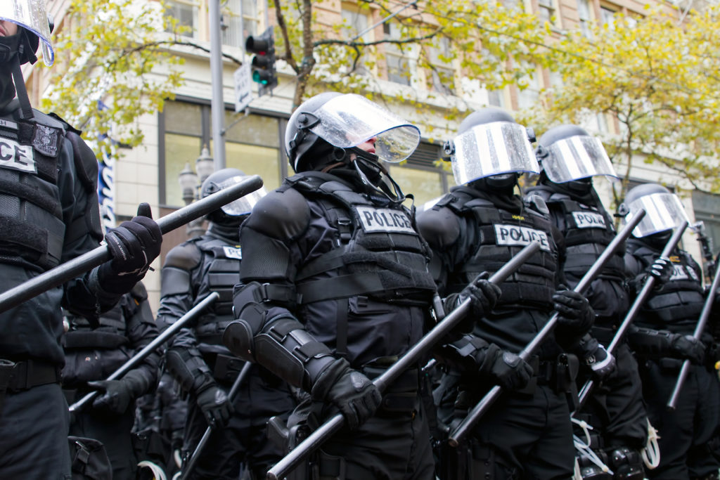 Police in giot gear are the final step before martial law