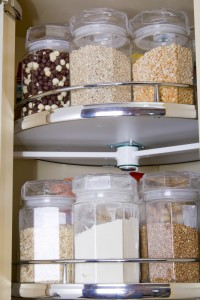 Grains stored on a lazy susan