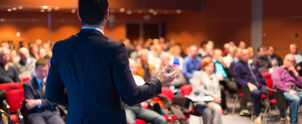 Speaker addresses audience