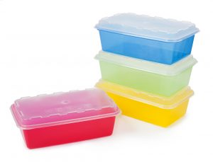 Plastic bins used to organize survival gear