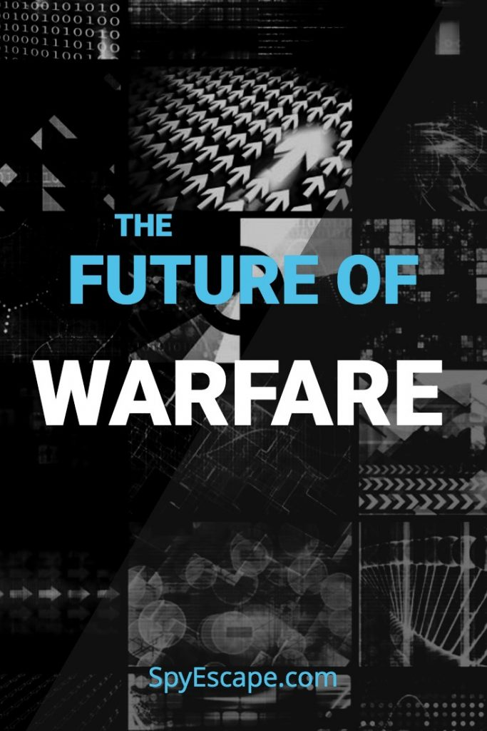 Several screens showing potential threats of future warfare.